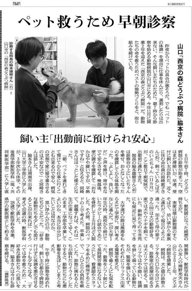 ペットを救う早朝診察で朝日新聞に紹介されました(2017年12月8日)